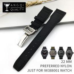 20mm 21mm 22mm Verde Negro correa de reloj correa de nylon con hebilla de mariposa pulsera de repuesto para IWC portugués con herramientas desde fabricantes