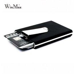 Porta carte di credito di qualità nera marca Winmax Portafoglio impermeabile tasca porta soldi in alluminio da uomo d'affari Porta carte d'identità da