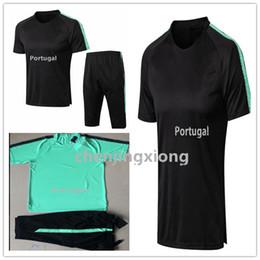 7d5eeb8ba RONALDO Short sleeve tracksuit 2018 World Cup Top Thailand black green  RONALDO18-19 football training clothes sportswear mens 3 4pants