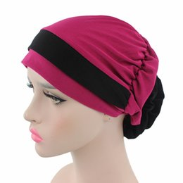Wholesale wholesale red sun scarves - Women Knitted Hat Muslim Baotou Elastic Force Beanies Double Flower Polychromatic Sun Shading Scarf Women Bardian Folding 6 19jd aa
