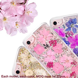 Wholesale Hybrid Flower Case - hybrid Defender floral real flower rubber rugeed combo heavy duty case cover skin for iPhone 6 6Plus 7 7Plus 8 8Plus iPhone X