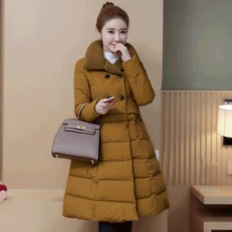 Wholesale Types Jacket Women - Women's long-sleeved cotton high-quality 2018 winter new double-breasted loose cloak skirt type down cotton padded jackets