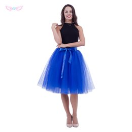 sexy women shower Coupons - women rolay blue Tulle skirt adult tutu, 7 layer tulle skirt bridal shower tutu dance bridesmai skirts Sexy high waist