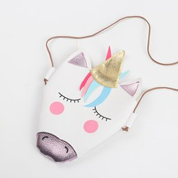2020 bolsos de cuero bolsos para niñas Baby Girls unicorn Messenger Bag PU Leather Cartoon Cute Kids Mini bolso de hombro Boutique New 2018 Monedero C4365 rebajas bolsos de cuero bolsos para niñas
