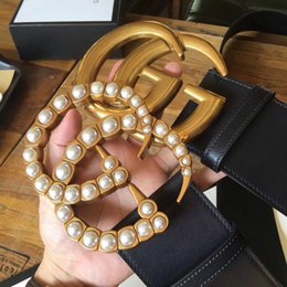 Wholesale Black Gold Wide Belt - hot classic gold pearl g buckle genuine leather women belt with box designer belts women high quality belts luxury brand belt free shipping