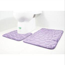 Canada 2 pcs / set tapis de bain tapis de bain impression 3d cailloux tapis de toilette flanelle anti-dérapant absorbant tapis de sol décor à la maison cheap pebble mats Offre