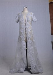 Wholesale Cheap Sexy Winter Jackets - New !! short Sleeve Lace Coat Wraps Jackets Bride's wedding Lace Coats With train Cheap