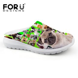 Wholesale Cute Silver Flats - FORUDESIGNS Cute Animal Pug Dog Printed men Sandals Summer Mesh Breathable Ladies Beach Shoes Chaussure Mules Clogs