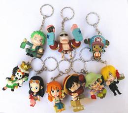 2019 coleção de brinquedos de uma peça 9 pçs / set Um Pedaço Zoro Frank Luffy Chopper Robin Nami Sanji Anime Chaveiro Collectible Action Figure PVC Coleção brinquedos coleção de brinquedos de uma peça barato