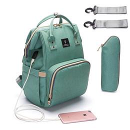 Wholesale Interface Travel - 2018 Baby Diaper Bag With USB Interface Large Capacity Waterproof Nappy Bag Kits Mummy Maternity Travel Backpack Nursing Handbag