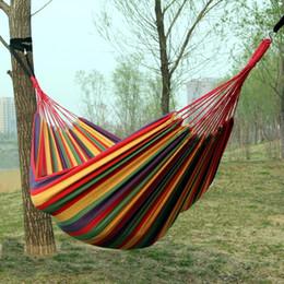 tela di canapa doppia Sconti Addensare Double Canvas Hammock Hamac Outdoor Leisure Bed Hanging Chair Dormire Swing Hammock Camping Caccia 4 colori