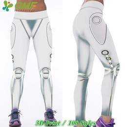 Wholesale Metallic Tights - 3D Metallic Argent Silver Steel Sports Yoga Pants Print White Silver Iron Fitness Tights Women Running Pants Jogging Leggings
