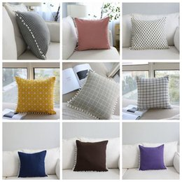 5825b8bd050 Ins Cotton pillow case Striped Pillow cases with Decorative Pear flower  ball car sofa Cushion covers 18 Designs YW556