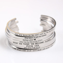 Wholesale 316 Stainless Steel Jewelry Wholesale - Wholesale- 2017 Customize Inspirational Bracelet 316 Stainless Steel ID Bracelet Bangles Personalized Men Jewelry Letters Bracelets
