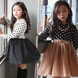 Baby Mädchen Weihnachten Party Kleid langärmeligen schwarzen weißen Punkt Kleider Bogen Gürtel Kinder Mädchen Prinzessin Kleider Hallowen Kleinkind Kleidung von Fabrikanten