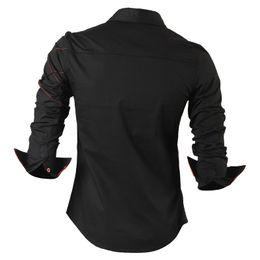 Camisas occidentales de algodón online-Camisa casual de paño Vestido masculino Ropa de hombre Manga larga Social Slim Fit Marca Boutique Algodón Botón occidental Blanco Negro