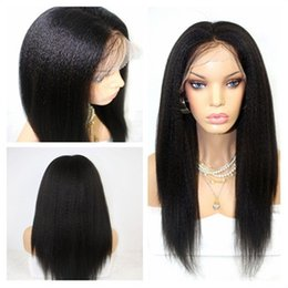 Wholesale yaki synthetic lace wig - High Quality Black Yaki Straight Long Natural Soft Synthetic Wigs with Baby Hair Heat Resistant Glueless Lace Front Wigs for Black Women