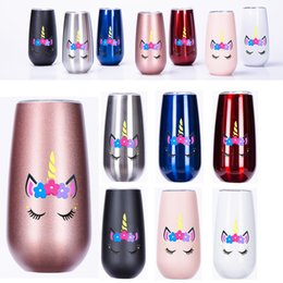Wholesale friends walls - Christmas gifts wine tumblers 6oz stainless steel tumbler unicorn insulated double walled kids water cups newest heady gifts for friend