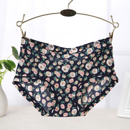 Wholesale Beautiful Underwear - Women Soft Underpants Seamless Lingerie Briefs Hipster Underwear Panties Popular Style Flower Printed Beautiful Lingerie Briefs
