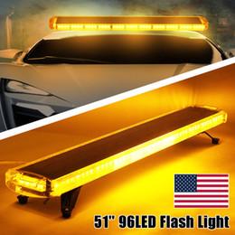 """Camion led barre lumineuse ambre en Ligne-51 """"96 LED de voiture stroboscopique ambre de brouillard de balisage ambre a averti des lumières d'urgence de camion de voiture polices barre lumineuse"""
