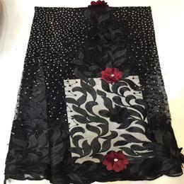 tecido flor preta 3d Desconto Flores 3D Tecido de Renda de Alta Qualidade 2019 Mais Recente Tecido Laços Africano Com Contas de Casamento Preto Cor Nigeriano Francês Tecido de Renda