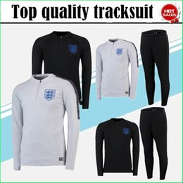 Wholesale Long Sleeves Football Jersey - 18 19 England tracksuit soccer jersey Training suit Long sleeve soccer wear rooney kane 2018 World Cup England football shirt KIT