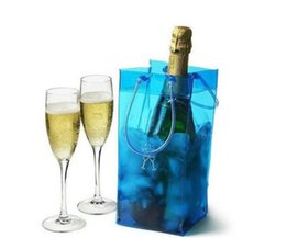 Wholesale ice bag wine chiller - Wine Ice Cooler Rapid Beer Cooler Ice Bag Outdoor Sports Ice Jelly Bag Picnic Chillers Frozen Bag Bottle PVC