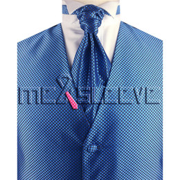 vest+ascot Tie+cufflinks+handkerchief Free Shipping Small Check Gold Unusual Suit Vest Set Discounts Sale