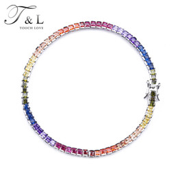 Wholesale Rubies Bangles - T&L 925 STERLING SILVER Cubic Zirconia Bangle BRACELET Fashion Women's RAINBOW Sapphire Topaz Ruby Corundum Crystal BRACELET