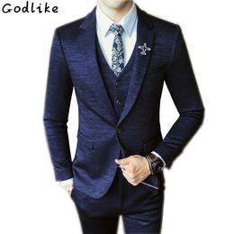 2020 мужские пользовательские tailcoat Arrival Custom made Navy Blue Tailcoat Men Suit Set Dress Slim Wedding Suits Mens gray Groom Tuxedos( jacket+Pants+vest) дешево мужские пользовательские tailcoat