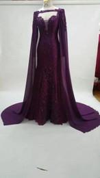 Vestido de noite roxo vestido cape mangas on-line-Roxo vestidos de baile com cape de manga comprida africano vestidos de noite imagem real de fábrica de alta qualidade mulher vestidos formais
