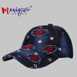 Hermosos sombreros de niña online-El nuevo algodón dama hermosa boca buiter vidrio taladro gorra de béisbol ocio deportes al aire libre sombrero niñas personalidad Hip hop gorras