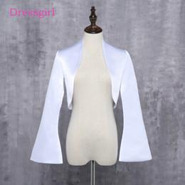 Wholesale Ivory Satin Shrugs Boleros - New custom Wedding Jackets Bridal With Long Sleeves Satin White Ivory Bride Shrug Coat For Evening Party Bolero Renda