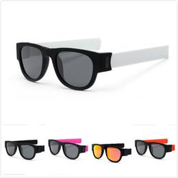 Wholesale men slapping women - Sun Glasses Women Men Slap Sungalsses Polarized Slappable Bracelet Wristband Fold Shades Fashion Mirror Colorful Novelty Glasses