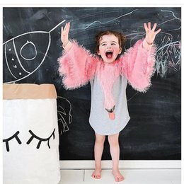 Wholesale Little Dot - Swan Fawn Girls Dresses Long Sleeve Pink Tassels Little Monster Cartoon Sequined Appliqued Printed Skirt Outfit 1-7T