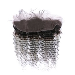 Wholesale Indian Remy Lace Frontals - 1b Grey Deep Wavy Hair Lace Frontals Ombre Brazilian Hair 13x4 Lace Frontal Closure 100% Non Remy Human Hair 8-22Inch