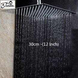 Wholesale 12 Rain Shower Head - Stainless Steel 12 Inch Bathroom Rain Shower Head Square Chrome Ultra-Thin Showerheads Rainfall Shower Head Rain