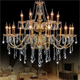 luxury arm chain Promo Codes - Large Double Layer chandelier 18 Arms K9 Crystal Luxury Big Lustres Chandelier Modern Crystal Chandelier Living Room