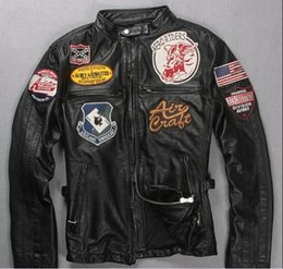 Wholesale avirex leather jacket xl men - hot sale black AVIREXFLY motorcycle leather jackets with Applique stand collar AIR DROIVIE AVIREX AERONAUTICS men leather jacket