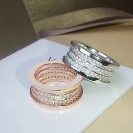 Wholesale Famous Engagement Ring - Famous fashion brand of stainless steel jewelry, luxury three ranks complete CZ rings for women men couple engagement ring