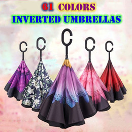 Wholesale double fabric umbrellas - 61 Colors Flower Stripe Reverse Folding Double Layer Inverted Umbrella Self Stand Inside Out Rain Protection C Handle Umbrellas For Car