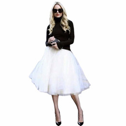 Wholesale jupe denim - New Puff Women Chiffon Tulle Skirt White faldas High waist Midi Knee Length Chiffon plus size Grunge Jupe Female Tutu Skirts