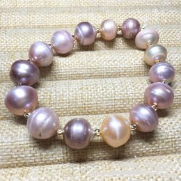 Wholesale Baroque Pearls Bracelets - Baroque pearls Bracelets Wholesale 2018 new design flower Pearl Bangle Empty tower Gold plate Bracelet For women fashion jewelry accessories
