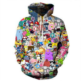 Wholesale Sweater Anime - free shipping wholesale Anime 3D digital printing sweater round neck collar large size loose hooded sweater Couple sweater