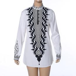 chemisier tribal Promotion Adulte Hommes Africain De Mode Ethnique Blanc Hippie Shirt À Manches Longues Couture Tops Blouse Tribal Pull Dashiki De Mariage Shirt XXL