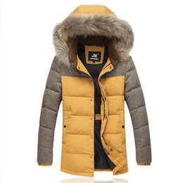 snow parkas Promo Codes - Men Down Coats Brand Design Raccoon Fur Winter Snow Warm White Duck Down Parkas 5XL New Male Hooded Slim Fit Long Overcoats E095