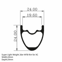 Wholesale mtb 26er - 26er MTB Rim Super Light Toray T700 Carbon Fiber Rims 24mm * 24mm Hookless Tubeless Ready For XC Cross Country Wheel