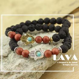 Al por mayor- 2017 Agata Lava Stone Yoga energía pulsera con cuentas de oro  antiguo Hamsa mano accesorios de joyería de moda para mujeres de los  hombres los ... c550df19755