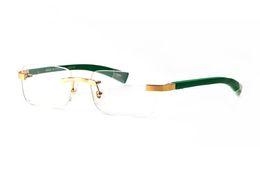 Wholesale Reading Sunglasses - Fashion designer wooden sunglasses buffalo horn glasses rimless clear lens reading Anti Radiation optical frames glasses for men eyewear