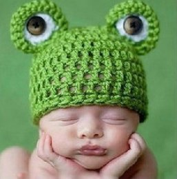 Wholesale Frog Accessories - Cute frog baby kids infant toddler girl warm beanie knit hat cap Newborn Photography Props Accessories